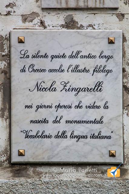 La dedica a Nicola Zingarelli a Orcesco