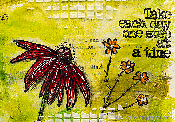 Layers of ink - Cone Flower Art Journal Page by Anna-Karin Evaldsson. AALL and Create Eclectic Stems.