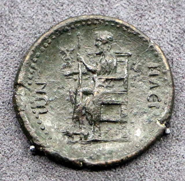 Image of Zeus of Olympia on ancient Greek coin