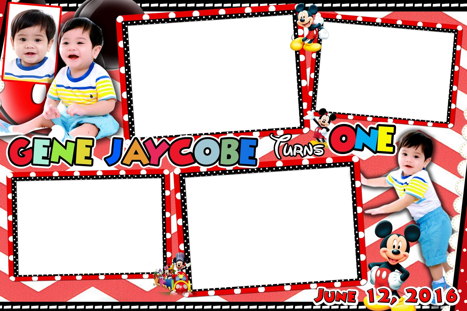 Sample Photobooth Template Design Mickey Mouse Theme For First Birthday