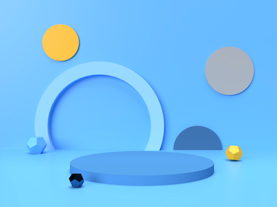 3D Podium with shapes on blue background
