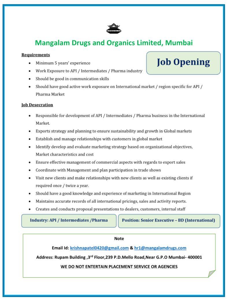 Job Opening Mangalam Drugs and Organics Limited, Mumbai For Position Senior Executive - BD