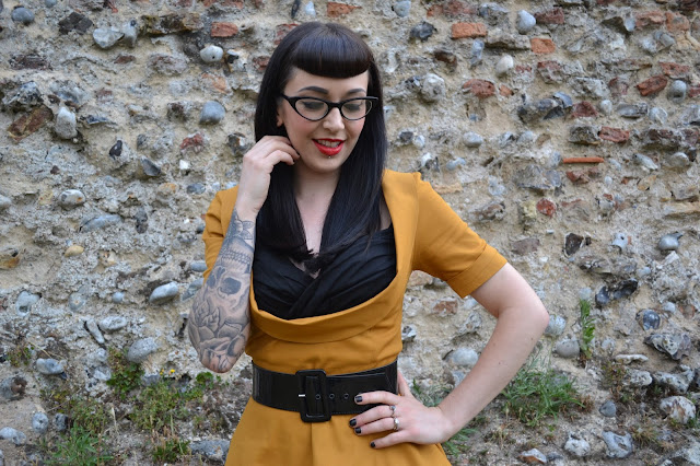 Sloane Mustard Cotton Swing Dress Chic Style Boutique Lindy Bop