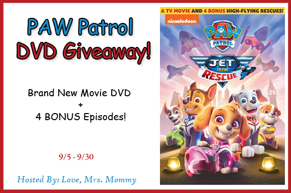 PAW Patrol: Jet to the Rescue DVD Giveaway