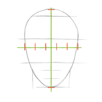 The two head proportions guidelines used to place and size the eyes.