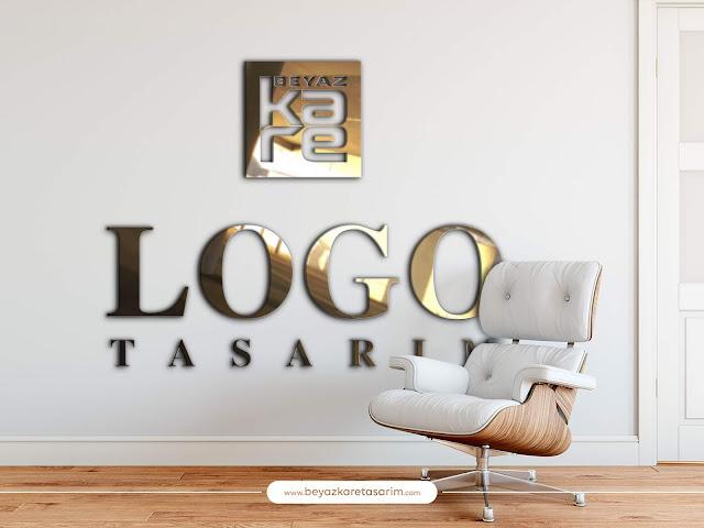 3D logo tasarımı ofis gold