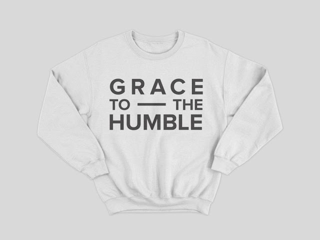 Grace to the Humble white hoodie jumper with grey logo