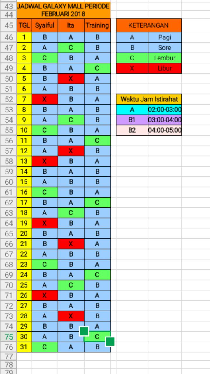 Membuat Jadwal Kerja Shift Dengan Excel : membuat, jadwal, kerja, shift, dengan, excel, Contoh, Jadwal, Kerja, Shift, Orang, Seputar, Kerjaan