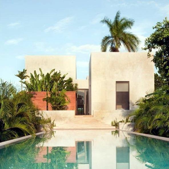 rumah minimalis warna alam dan kolam renang alami