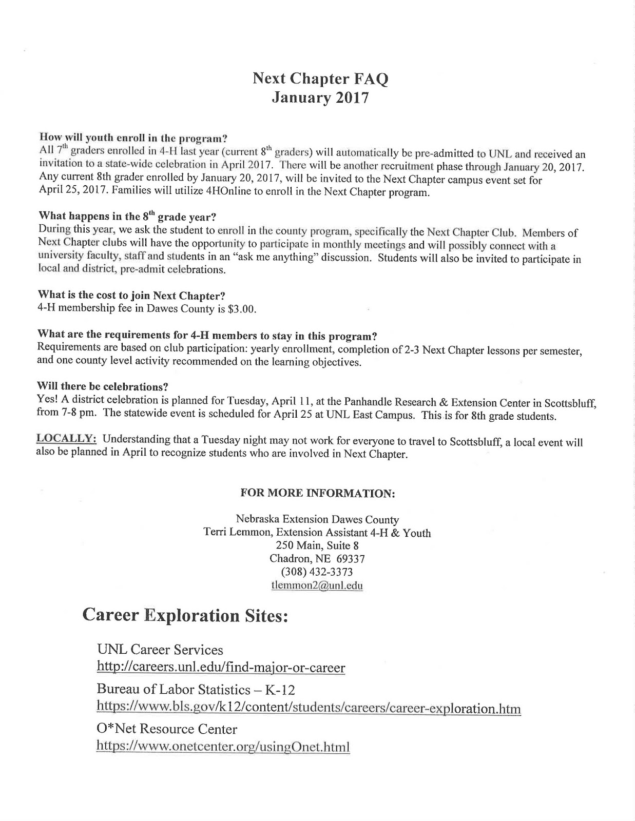 Career Connections With Unl 4 H Extension Chadron Public