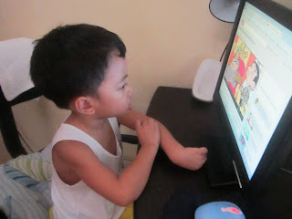Kiko, watching Mr. Bean in YouTube