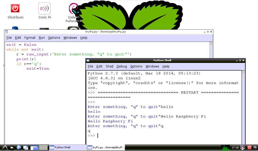 Hello Raspberry Pi: Python exercise: read line of input, 'q' to quit