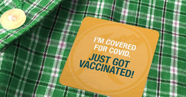 A photo of a sticker residents received after getting their COVID-19 vaccines.