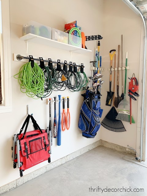 Hanging garage tools on walls