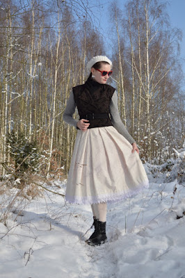 layered winter outfit, background with snow, lolita fashion outfit, georgiana quaint, quaintrelle vintage blog