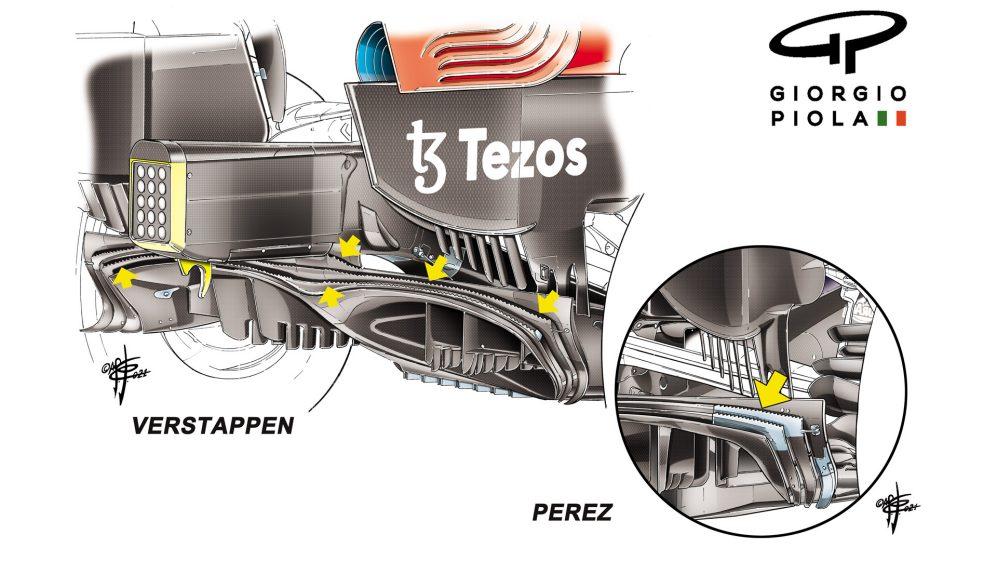 Verstappen executou um difusor traseiro atualizado na Styria, com Perez ainda executando a parte de especificação mais antiga