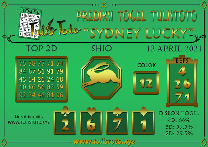 Prediksi Togel SYDNEY LUCKY TODAY TULISTOTO 12 APRIL 2021