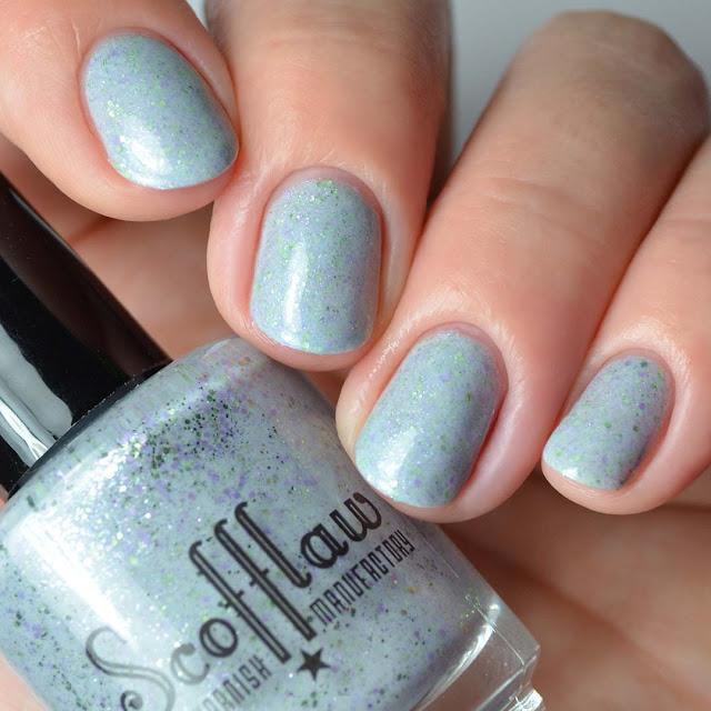 gray creme glitter nail polish