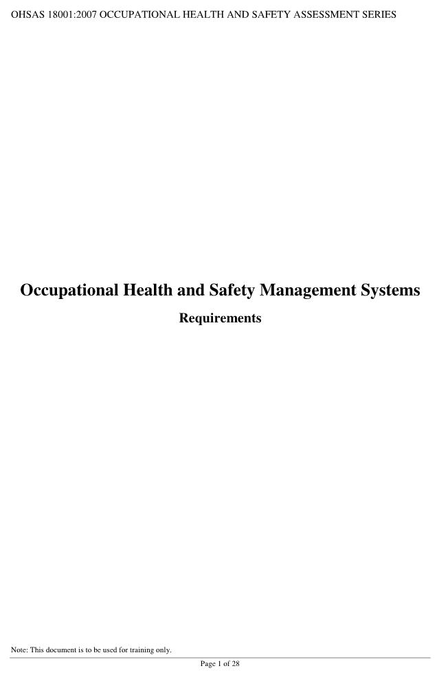 OHSAS 18001 Pdf Online Download