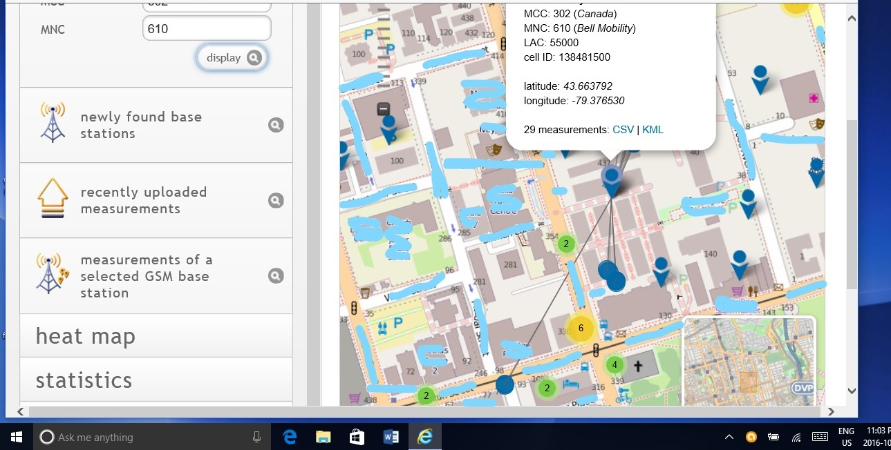 towers that i found mapping to a nearby residential building and another nearby low rise building as well as points north i have been hit from these