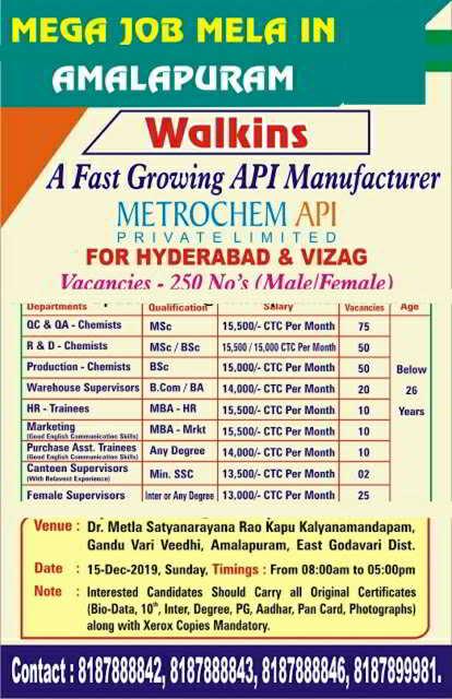 Metrochem API Pvt. Ltd mega walk-in drive for multiple positions on 15th Dec' 2019    250 Openings