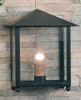 lampara de forja y cristal para exterior