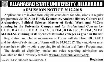 Allahabad University Admission 2017 aupravesh.org Entrance