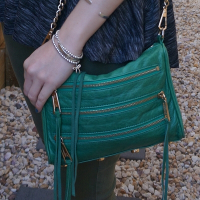 Rebecca Minkoff emerald green mini 5-zip rocker bag | away from the blue