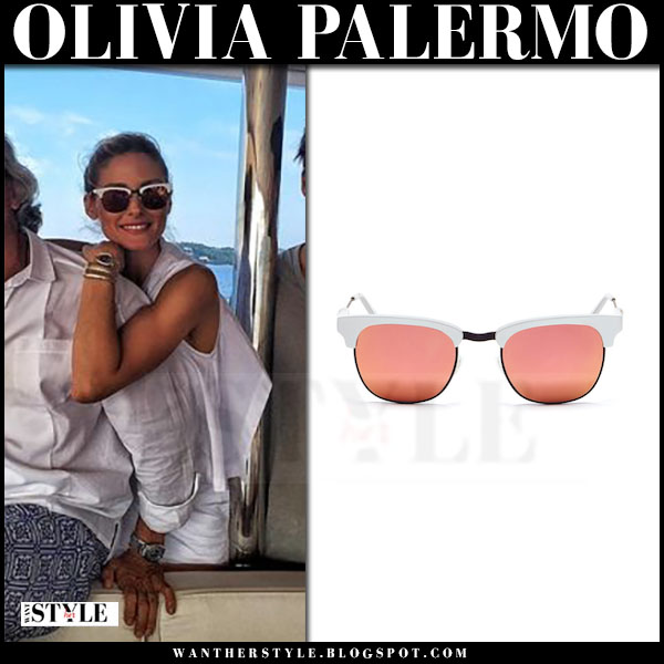 Olivia Palermo in white frame pink mirrored sunglasses westward leaning vanguard what she wore
