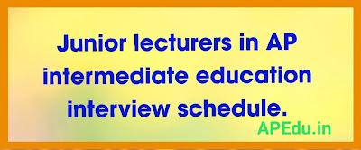 Junior lecturers in AP intermediate education interview schedule.