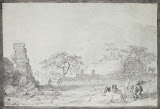 The Ruins of a Phoenician Structure in Casal Caccia by Jean-Pierre-Laurent Houel - Landscape Drawings from Hermitage Museum