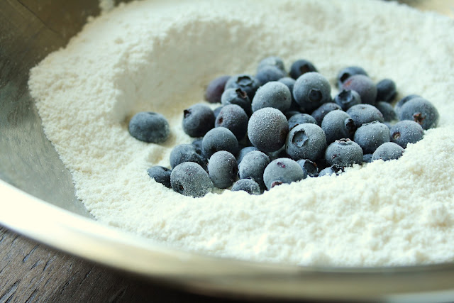 frozen blueberries and flour