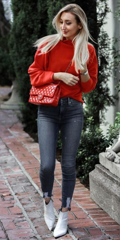 Fall in love this winter season with these cozy sweater outfits. Winter Fashion via higiggle.com   classic red sweater for work   #sweater #winter #fashion #knit