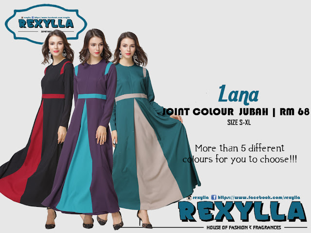 rexylla, joint colour, joint colour jubah, lana collection