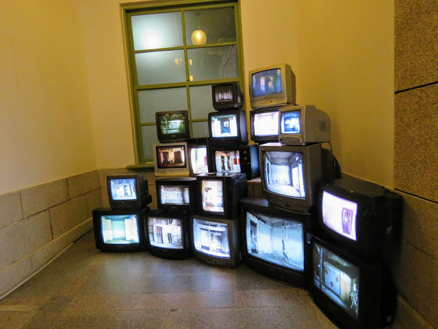 CRT TV art exhibit at Citizen's Station in Seoul South Korea