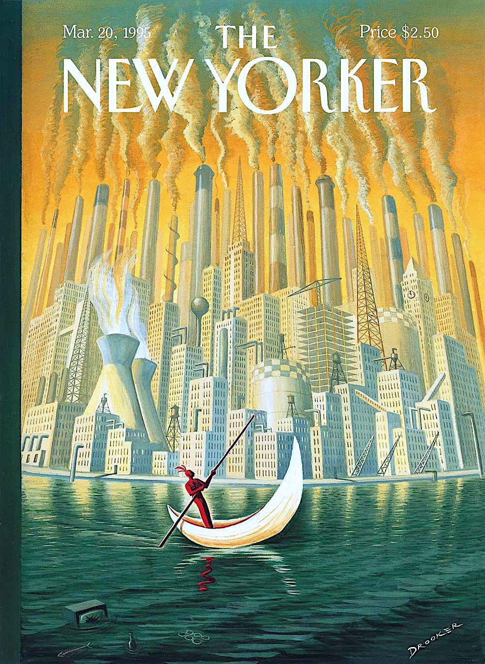 an Eric Drooker illustration for The New Yorker March 20 1995, a past aboriginal in a boat passes and urban industrial city