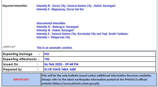 Magnitude 6.4 earthquake hits Davao Occidental