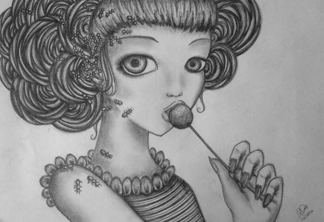 Anna Legaspi drawing art graphite pencils on paper. Inspired by Camilla dErrico Cotton Candy Curly Cue