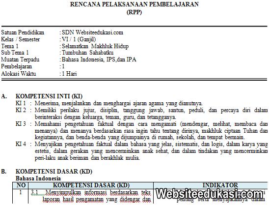 RPP Kelas 6 Tema 1 Kurikulum 2013 Revisi 2019