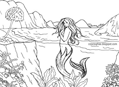 Enchanted lake aquatic mermaid wonderful land of magical and mystical creatures coloring drawings
