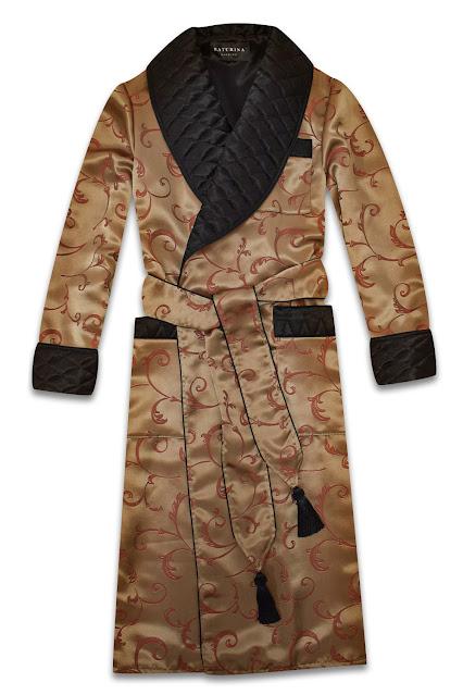 mens silk dressing gown dark gold black paisley smoking jacket housecoat vintage lounging morning robe