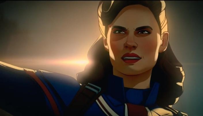 Imagem: cena da animação em que vemos Peggy Carter, uma mulher branca com cabelos castanho-ruivos, em um uniforme de Capitã Britânia, azul com detalhes vermelhos e brancos, olhando para cima, com um fundo noturno.