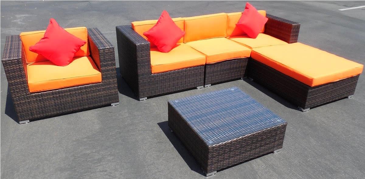 6 Piece Rattan Outdoor Sofa Patio Garden Couch Set