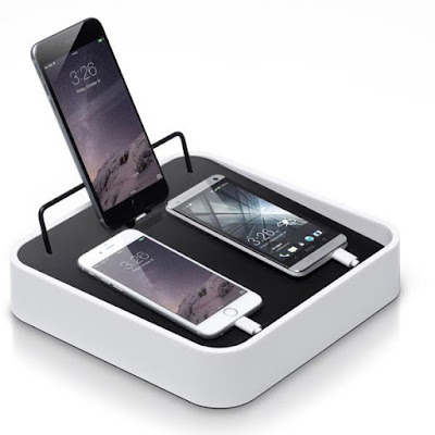 charging station, box-like, where cords are kept inside and products rest on top or stand up against a rail