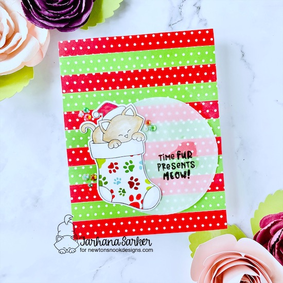 Cat Christmas Card by Farhana Sarker | Newton's Stocking Stamp Set, Meowy Christmas Paper Pad, and Circle Frames Die Set by Newton's Nook Designs