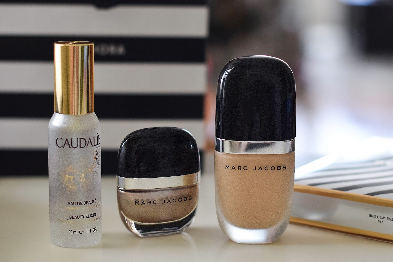 Marc Jacobs Genius Gel Super Charged oil-free foundation, Marc Jacobs nail polish and Caudalie Beauty Elixir setting spray