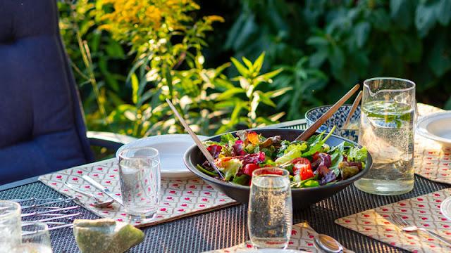 salad dinner on outside table