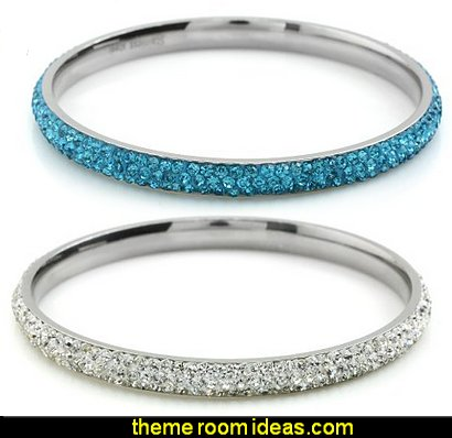 Bling Bling Rhinestones Crystal Stainless Steel Eternity Bangle Bracelet
