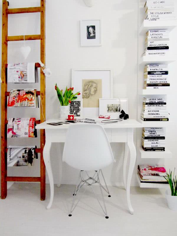 Home office with bookshelf