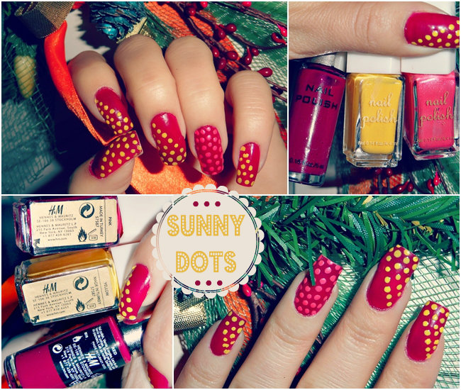 red long nails with yellow and coral dots, Easter nails ideas